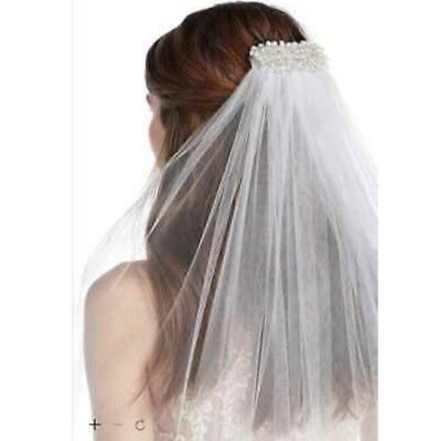 Davids Bridal One Tier Cathedral Veil with Pearl Comb White NWT $129