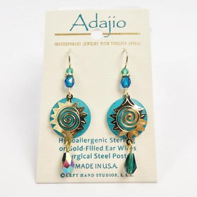 Adajio Earrings Shiny Gold Plated Starburst Design Over Teal Blue Disc with Bead