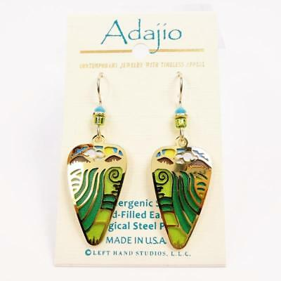 Adajio Earrings Landscape Scene with Shiny Gold Plated River Overlay Handmade