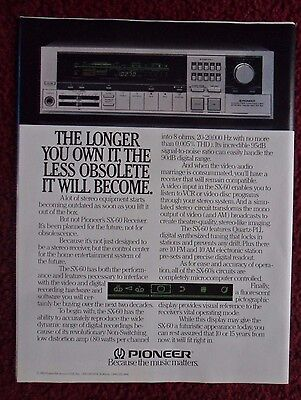 1983 Print Ad Pioneer SX-60 Stereo Receiver ~ Longer You Own It, Less Obsolete