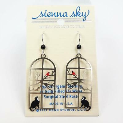 Sienna Sky Earrings Sterling Silver Hook Cat Watching Bird in Window Handmade