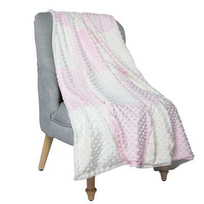 """Boritar Baby Blanket/Crib Quilt with Minky Raised Dotted Super Soft Pink 30""""x40"""""""