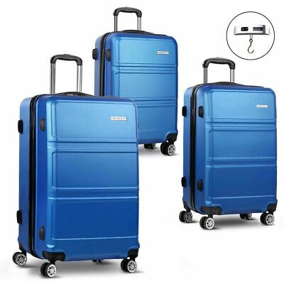 Wanderlite 3pc Luggage Suitcase Trolley Set TSA Travel Hard Case Free Scale