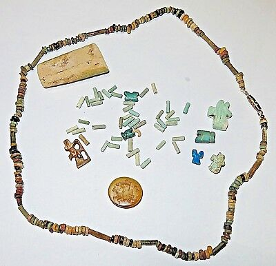Ancient Egyptian Grouping Faience Bead Necklace Mummy Beads Roman Intaglio Horus