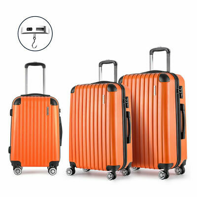 Wanderlite 3pc Luggage Suitcase Orange Trolley Set TSA Hard Case Lightweight