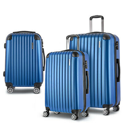 Wanderlite 3pc Luggage Suitcase Trolley Set TSA Hard Case Lightweight Blue