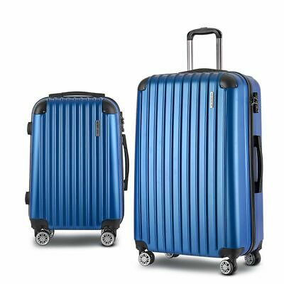 Wanderlite 2pc Luggage Suitcase Blue Trolley Set TSA Hard Case Lightweight Scale