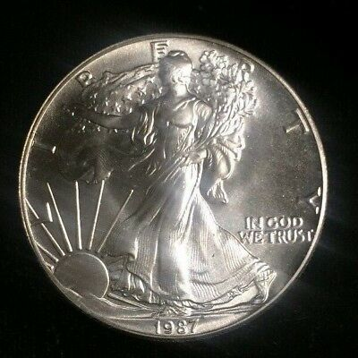 1987 American Silver Dollar Eagle ~ Gem Bu Contains 1 Troy Oz .999 Fine Silver