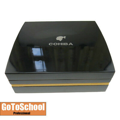 Cohiba Black Cedar Wood Cigar Humidor Set Cutter Ashtray Hygrometer Piano Finish