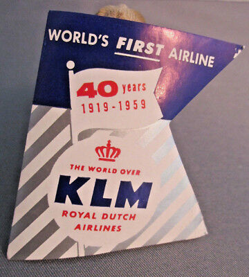1959 KLM Royal Dutch Airlines 40Year Annv. Luggage Sticker Decal, Letter Seal