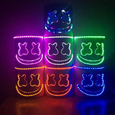 LED Marshmello DJ Mask Helmet Cosplay Costume Halloween Party Props Bar DJ toy*