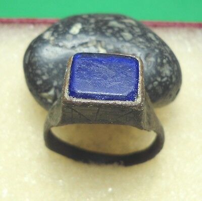 Ancient Roman Bronze Ring with Blue stone Original Authentic Antique Rare R434