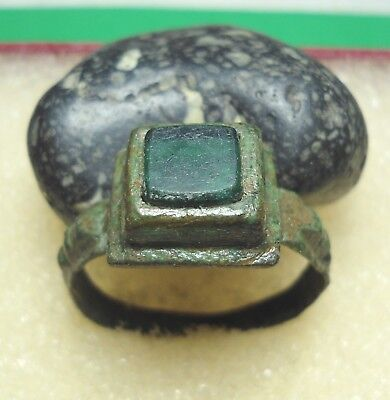 Ancient Roman Bronze Ring with green stone Original Authentic Antique Rare R430