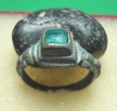 Ancient Roman Bronze Ring with green stone Original Authentic Antique Rare R431