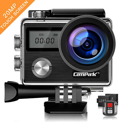 Campark 4K Touch Screen Sport Action Camera WiFi 20MP Waterproof Remote Control
