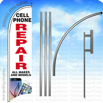 CELL PHONE REPAIR  ALL MAKES Windless Swooper Flag KIT Feather Sign 15' - wb