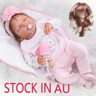Full Body Silicone Reborn Dolls Lifelike Baby Girl Newborn Doll Xmas Gifts 23""