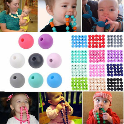 Baby BPA Free Silicone Teething Necklace Round Beads Chain Nursing Teether 20Pcs