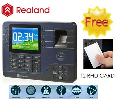 "Realand USB/TCP 3.2"" LCD Fingerprint Time Attendance Real-time Monitor +12 Cards"
