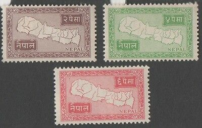 Nepal. 1954 Map of Nepal. 2p, 4p, 6p. MH