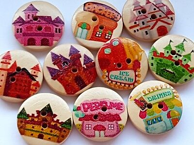 10 Wooden Fairytale Princess Castle Palace Buttons Embellishments-Crafts -Sewing