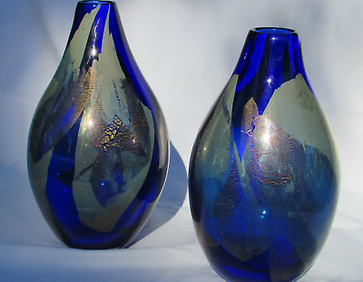 Pair of Hand Blown Art Glass Vases Gold and Silver Leaf By Garry Nash 1996