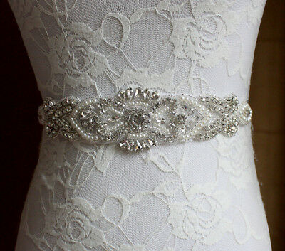 Luxury Vintage Handmade Crystal Rhinestones Wedding Dress Bridal Sash Belt White