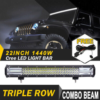 22inch Cree Led Light Bar Triple Row Spot Flood 7D Offroad Driving Lamps 4WD 4x4
