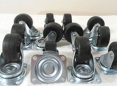 "12 Pc.  2"" Inch Premium Swivel Rubber Wheel Caster Two Row Ball Bearing"