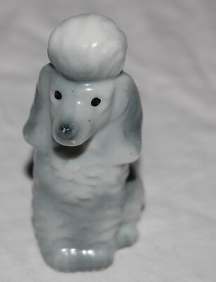 "Vintage Gray Porcelain Poodle Figurine 3"" Japan Mini Sitting Dog Figure"