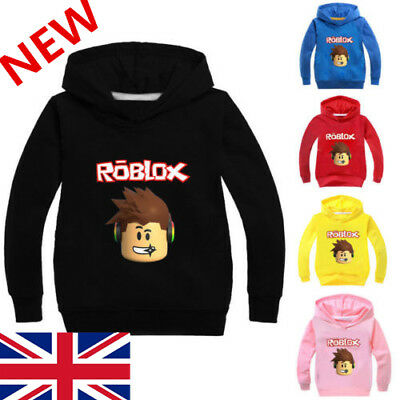 3-10Y 100% Cartoon Girl Boy Casual Hooded Tops Roblox T-shirt Kids Hoodie Jumper