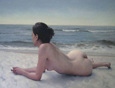 CHENPAT388 nude girl lady lie on the beach art hand-painted oil painting canvas