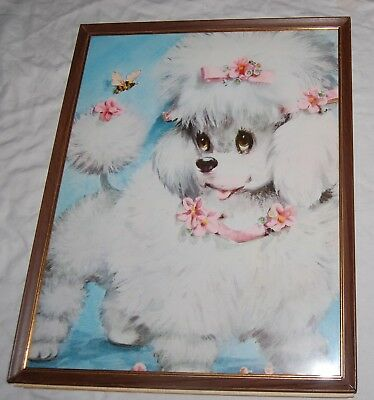 Vintage Mid Century French Poodle Wall Framed Art 50s Pink Bows Collar 14.5x11.5