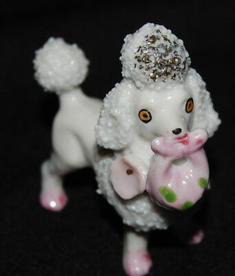Vintage Porcelain Spaghetti Glass French Poodle Figurine Pink Purse 2.5 Playing