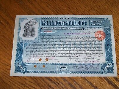 Baltimore and Ohio Railroad Company Stock Certificate Issued 1899