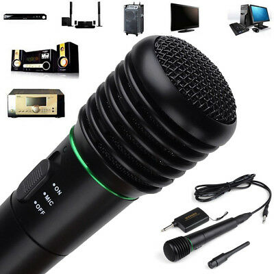 2in1 Wired or Wireless Handheld Microphone Mic Receiver System Undirectional Hot