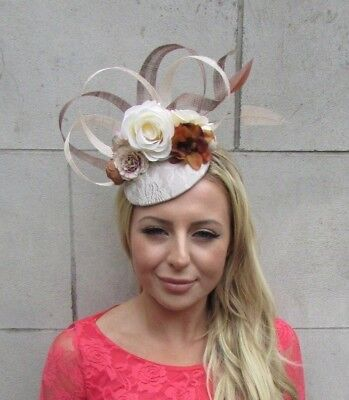 Beige Light Brown Cream Nude Rose Flower Feather Hat Hair Fascinator Races 6221