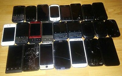 Lot of 24 Untested Smartphones for Parts, Repair, Scrap, etc., Fast Shipping