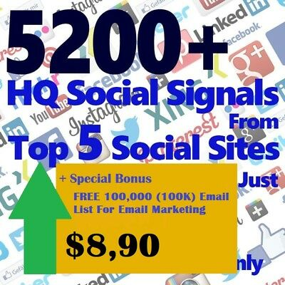 7200 Real SEO Social Signals including PR9 Googleplus ones Pinterest signals soc