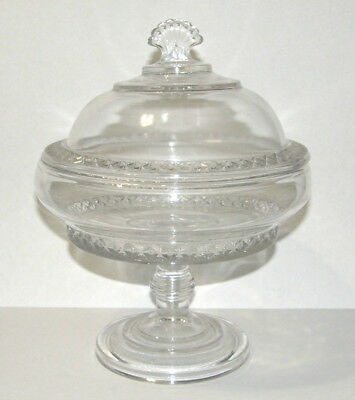 Bryce Higbee 1885 Covered Compote Spirea Band Large Glass Squared Dot Eapg
