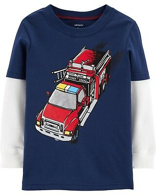 New Carter's Red Fire Truck Top NWT 3T 4T 5T year Kid Navy Blue Long Sleeve