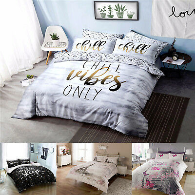Duvet Quilt Cover Bedding Set With Pillowcases Chill Paris Sleep Slogan All Size