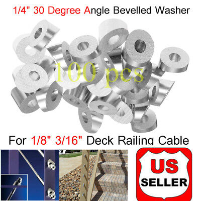 Lots 100 T316 Stainless Steel 30 Degree Angled Washer For 1/8 3/16 Cable Railing