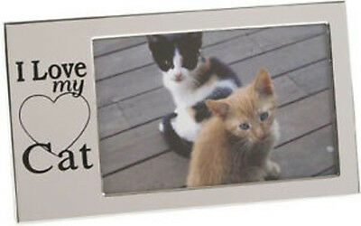 New Silver I Love My Cat Glass Photo Frame Pet Kitten Picture Frames