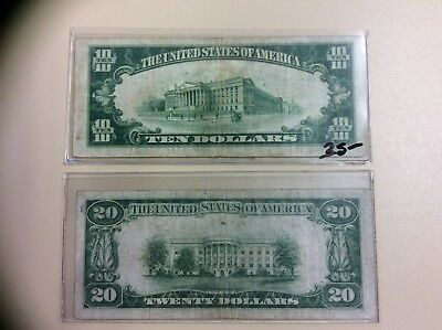 Lot of 2 National Currency notes $10 & $20