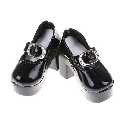 1pair Black PU Leather 1/4 Doll Shoes for 50cm  SD Dolls Accessory 6.3cm MEE