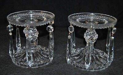 Pair of Vintage Glass Candlestick Holders w Crystal Chandelier Prisms 4 1/2 tall