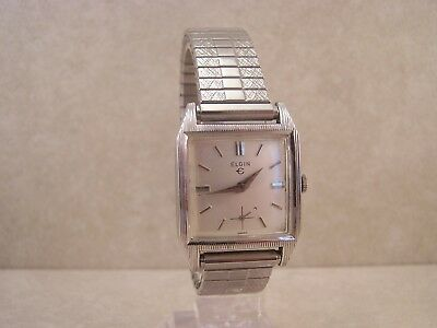 Vintage Elgin Swiss 17 Jewel 874 10K RGP & S/S Art Deco Men's Watch
