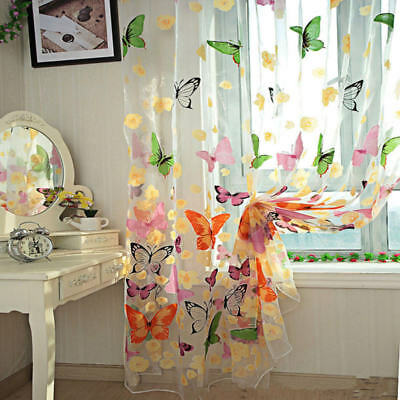 Voile Tulle Valance Scarf Butterfly Print Sheer Curtains Door Window Home Decor
