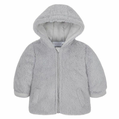 unisex baby boy girl grey faux fur coat jacket winter soft 3-6-9-12 months gift